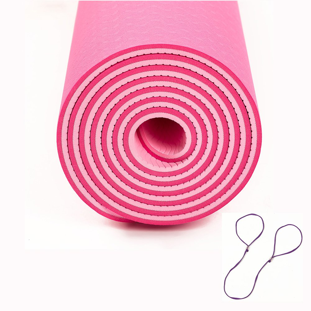 QYSM Yoga Mat Eco Friendly TPE Non Slip Yoga Mat Longer and Wider Exercise Mats Anti-Tear Hot Pilates Pad Mats in Home & Gym-6mm Thick Rose red