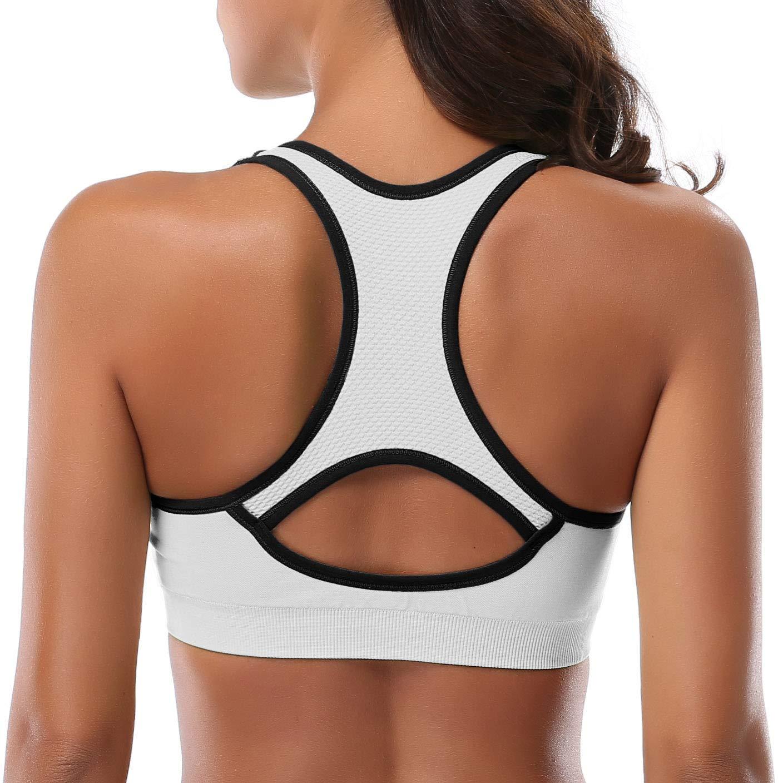 High Impact Workout Gym Activewear Bra Sport Bra-004-NEW5Pack-S MIRITY Women Racerback Sports Bras