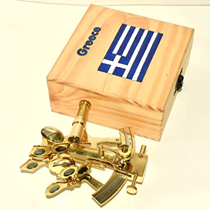 ANTIQUE BRASS COLLECTIBLE GERMAN ASTROLABE MARINE NAUTICAL SEXTANT /& WOODEN BOX
