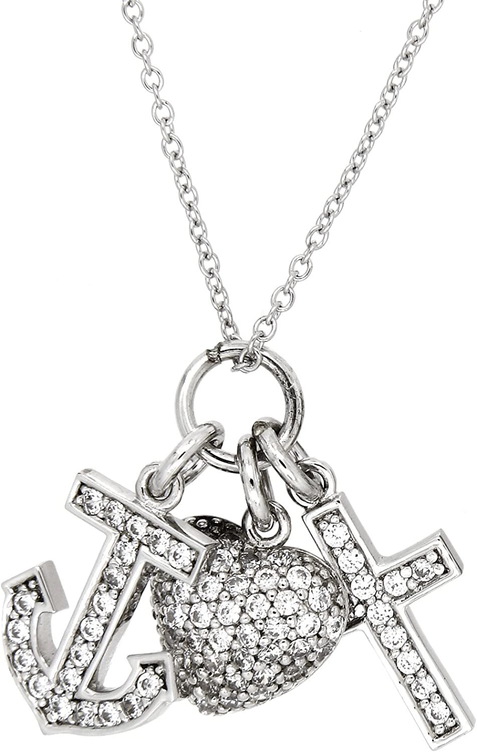 Beautiful Sterling silver 925 sterling Sterling Silver Rhodium-plated CZ Anchor Pendant