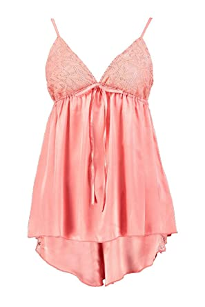 Boohoo Womens Lena Boutique Satin and Lace Trim PJ Short Set in Coral size 4