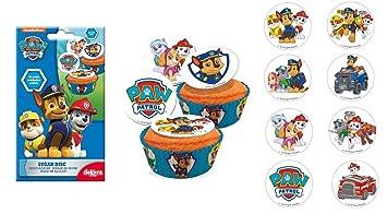 Lot 16 Mini Disque Sucre Pat Patrouille Gateau Cupcake Anniversaire