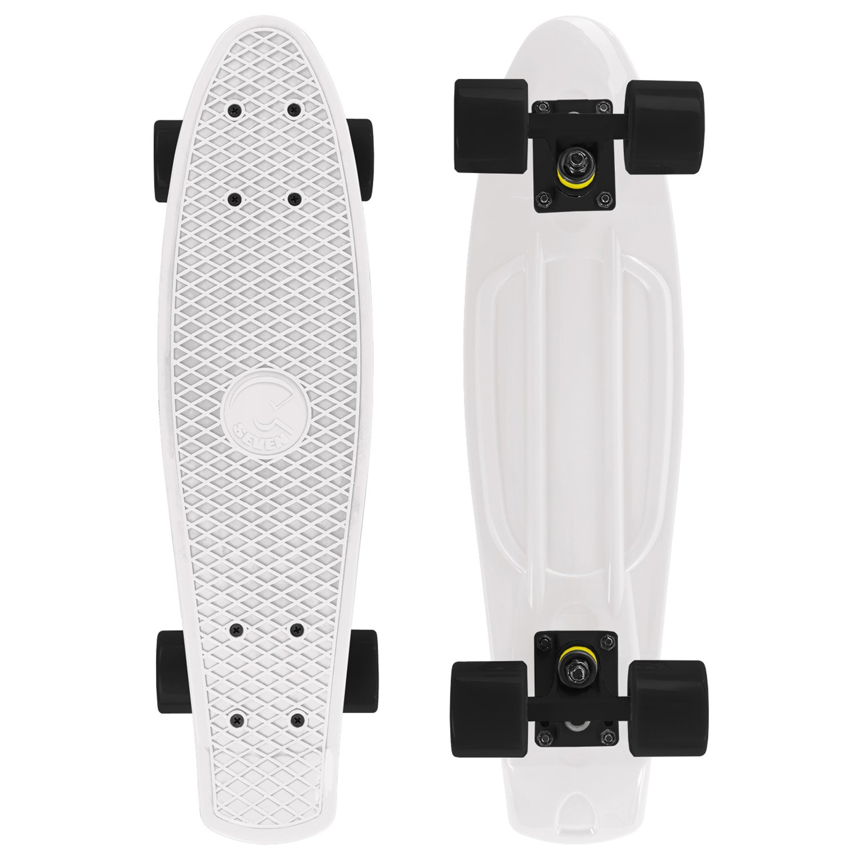 Cal 7 Mini Cruiser Skateboard Complete 22 Inch Standard Style Plastic Board Style (White/black/black) by Cal 7