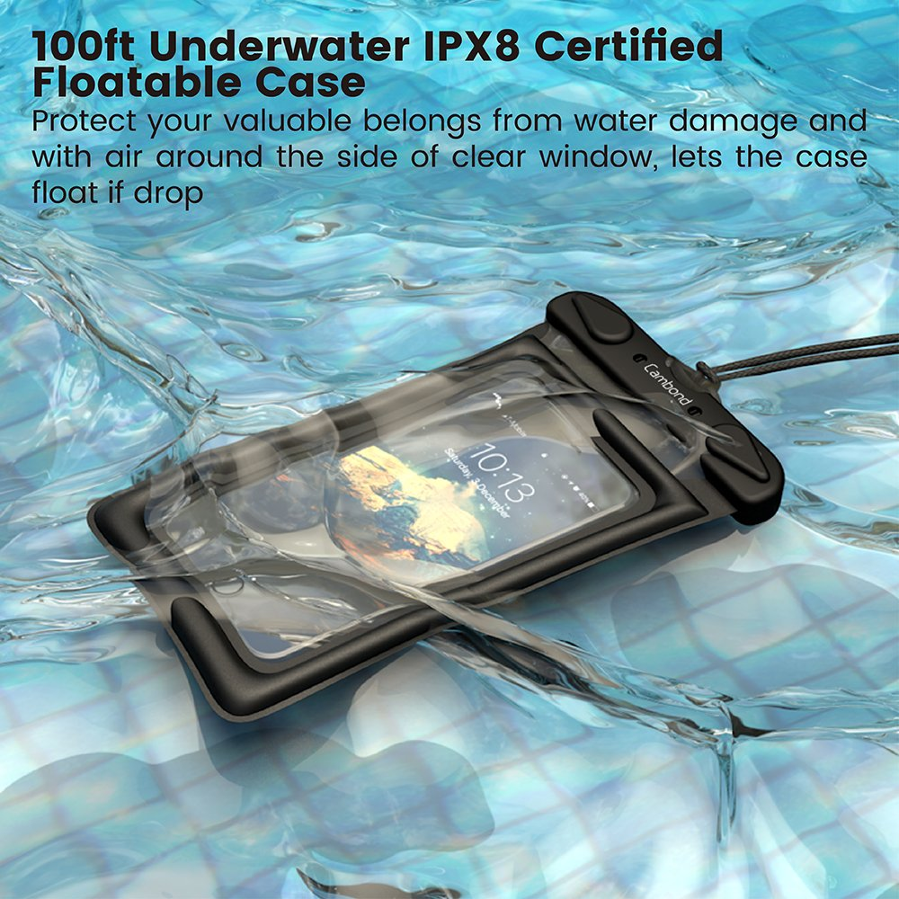 Cambond Waterproof Phone Pouch, Anti-break Lanyard, IPX8, Clear TPU, Fit for iPhone X/8/8P/7/7P, Samsung Galaxy S9/S8/S8P/Note 8, Google Pixel/HTC/LG, Up to 6.0'', Cruise Ship Kayak Accessories, 4 Pack by Cambond (Image #5)