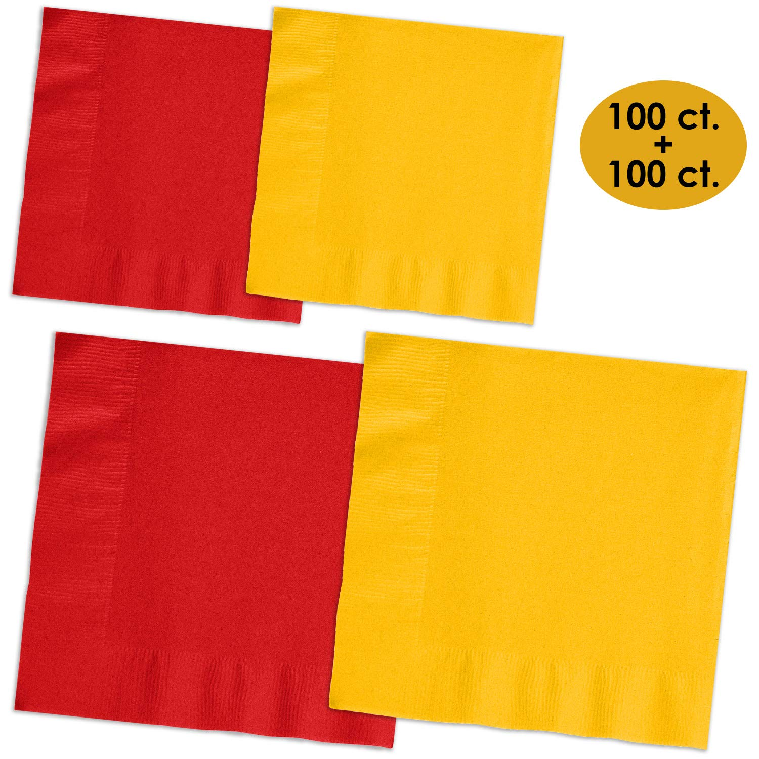 200 Napkins - Red & Sunshine Yellow - 100 Beverage Napkins + 100 Luncheon Napkins, 2-Ply, 50 Per Color Per Type