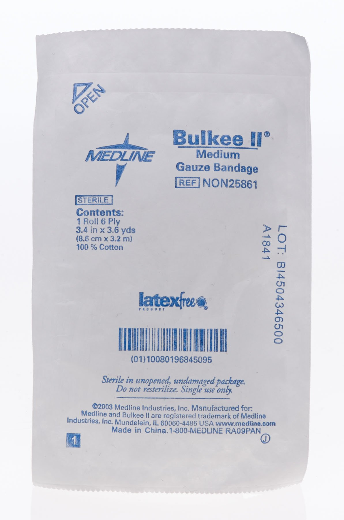 Medline NON25861 Bulkee II Non-Sterile Latex Free Cotton Gauze Stretched Bandage, 3.4'' x 3.6 yd (Pack of 96)