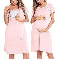 SWOMOG Women's Nursing Dress Labor/Delivery/Maternity Nightgown Hospital Breastfeeding Sleepwear with Button