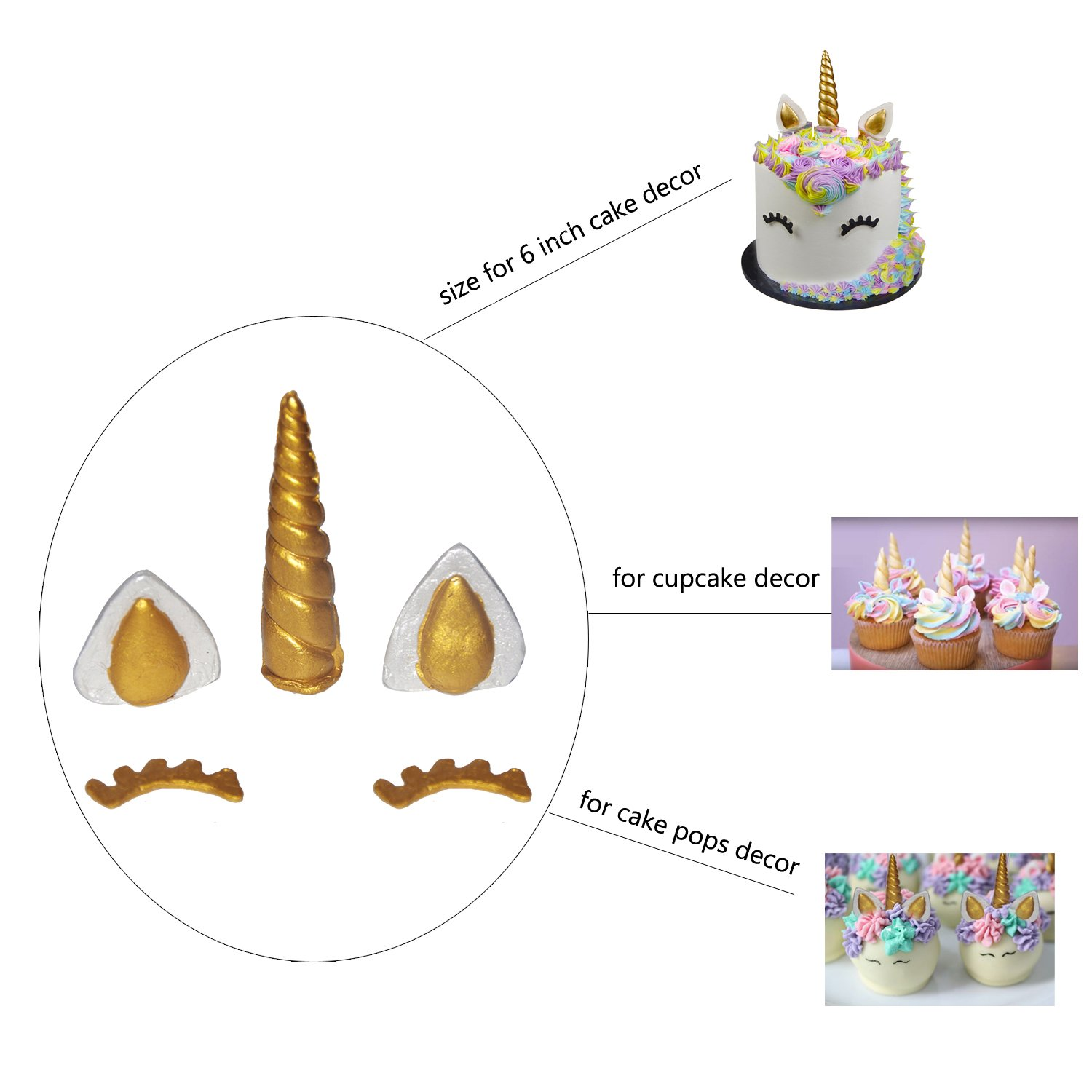 Amazon.com: Silicone Unicorn Horn Mold With Ears and Eyes Set For Fondant Chocolates Unicorn Cake Toppers: Kitchen & Dining