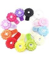 Tinksky 12pcs Multicolor Infant Baby Girls Flower Clip Elastic Crochet Headband Photo Props Christmas Gift