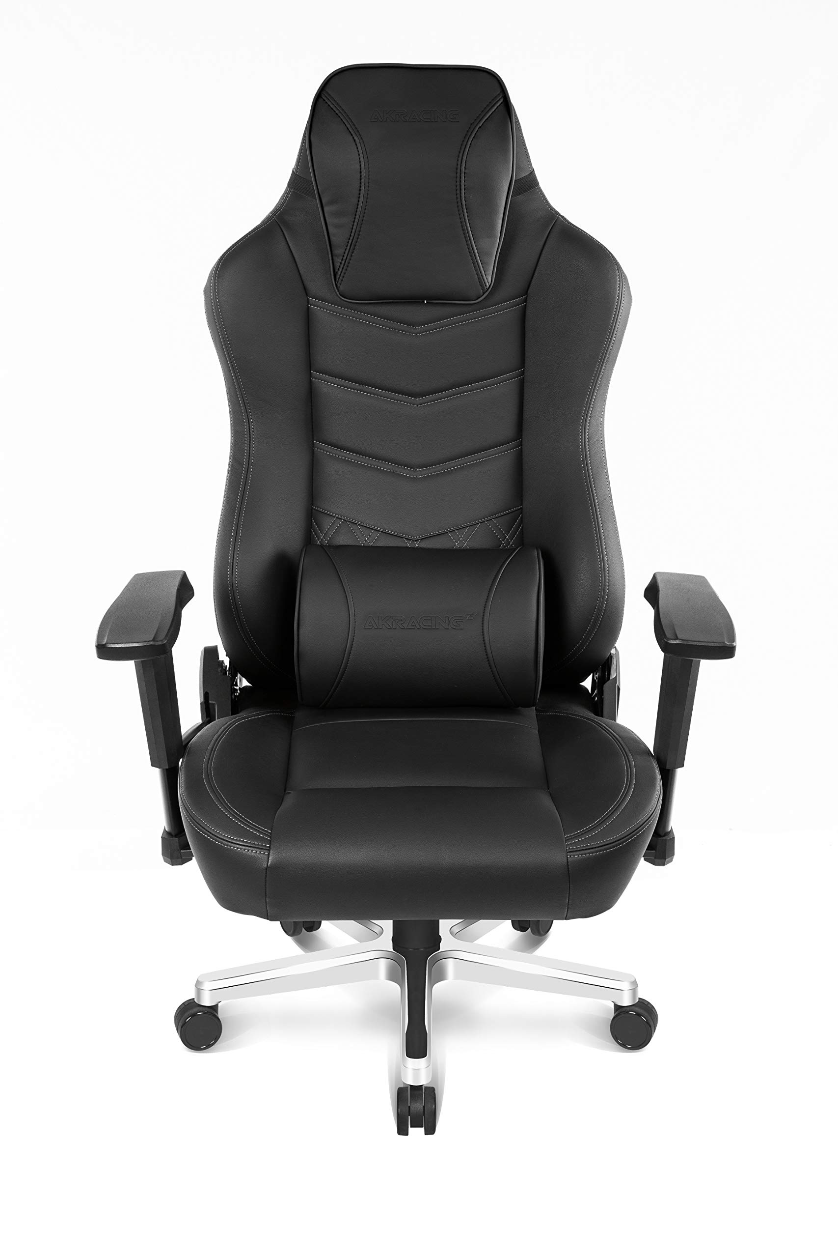 AKRacing Office Series Onyx Deluxe Executive Real Leather Desk Chair with High Backrest, Recliner, Swivel, Tilt, Rocker & Seat Height Adjustment Mechanisms, 5/10 Warranty - Black by AKRacing