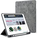 MOCA Smart Flip Cover with Pencil Holder for iPad 9.7 inch Year 2018-2017 iPad 5 6 5th 6th gen Generation iPad Air 2 1 (Grey)