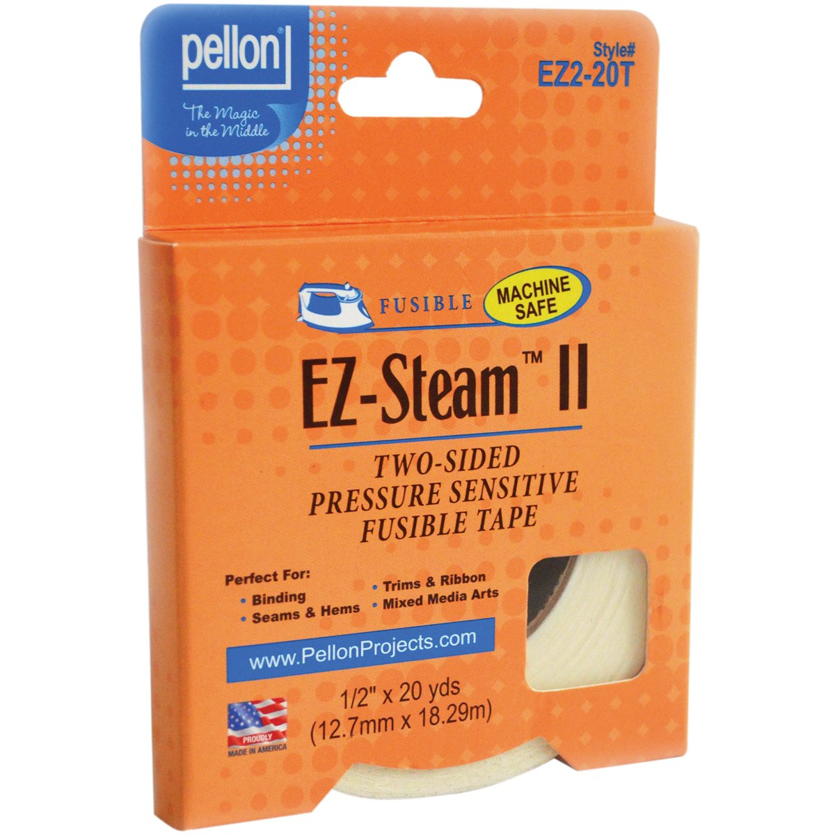 Pellon EZ2L-20T EZ Steam II Tape, 1/2-Yard x 20-Yard, White