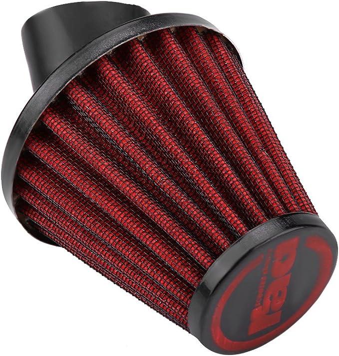 35mm-rosso Filtro aria moto Vobor Moto universale Filtro aria aspirata curva 45 gradi