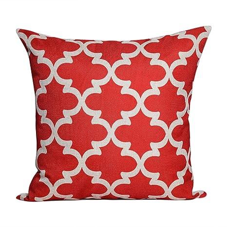 JUNGEN Fundas de Almohada con Diseño de Patrón Geométrico Decorativo Fundas De Cojines de Lino para Decoración Sofá Coche Cama (45 x 45 cm) (Rojo)