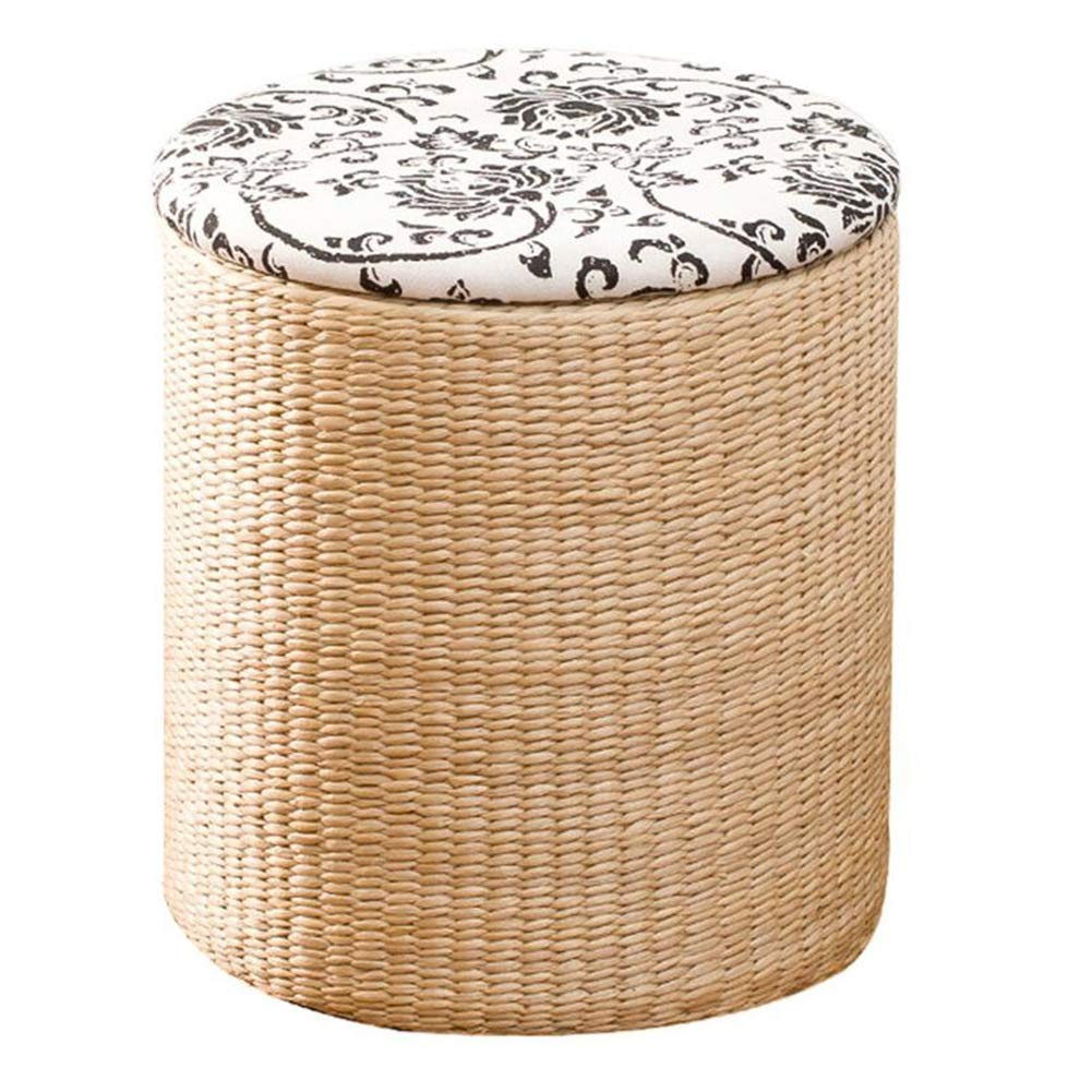 B-circle-cloth Large Stools Footstool Step Stool Vine Straw Storage Sort Out Covered Wholesale Footrest Sofa Can Sit Toy CONGMING (color   A-Round-Grass, Size   Large)