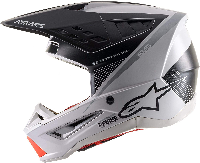 White//Grey//Silver Sz L Alpinestars SM5 Rayon Helmet