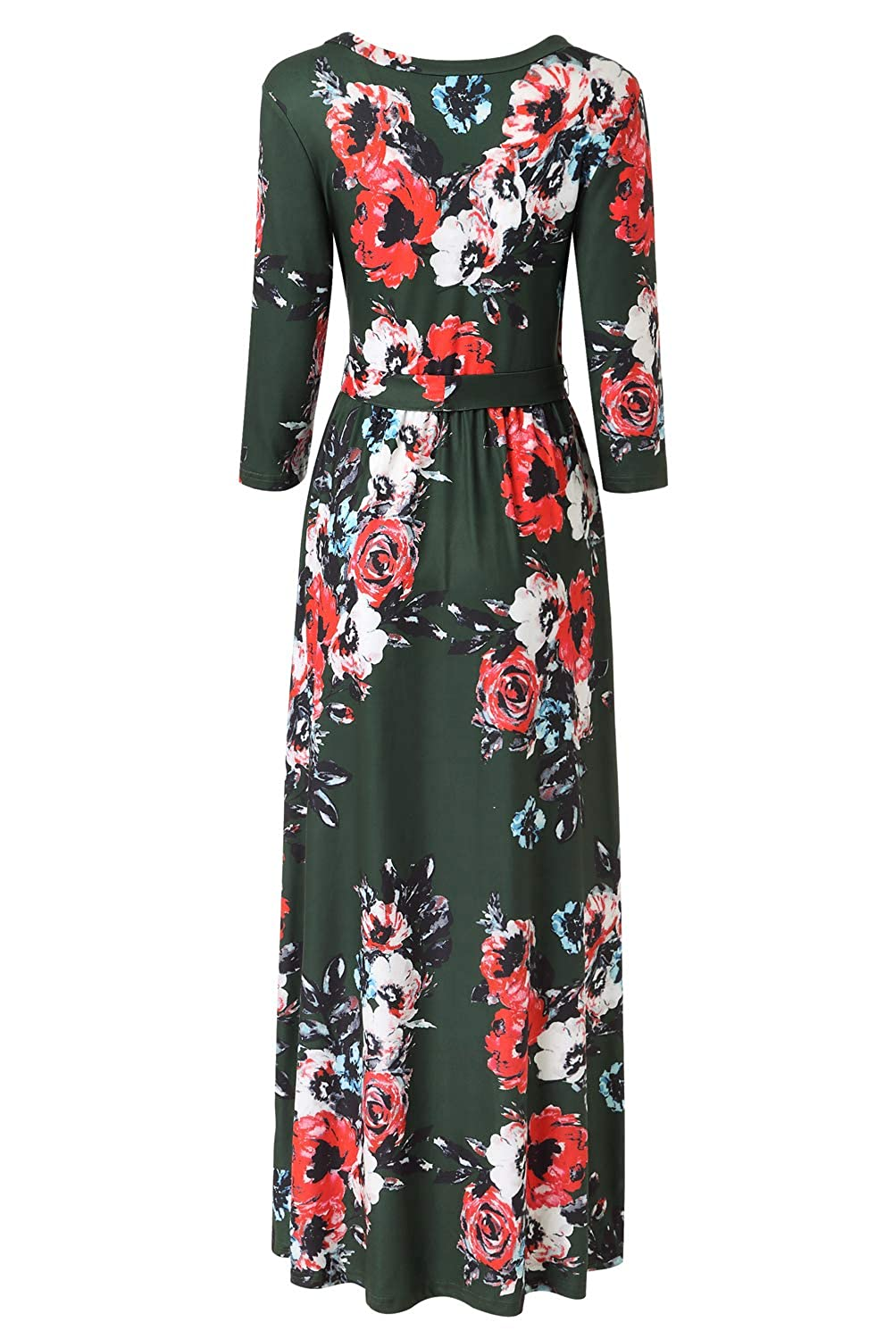 88dbc78d2257 Zattcas Womens 3/4 Sleeve Floral Print Faux Wrap Long Maxi Dress with Belt  at Amazon Women's Clothing store: