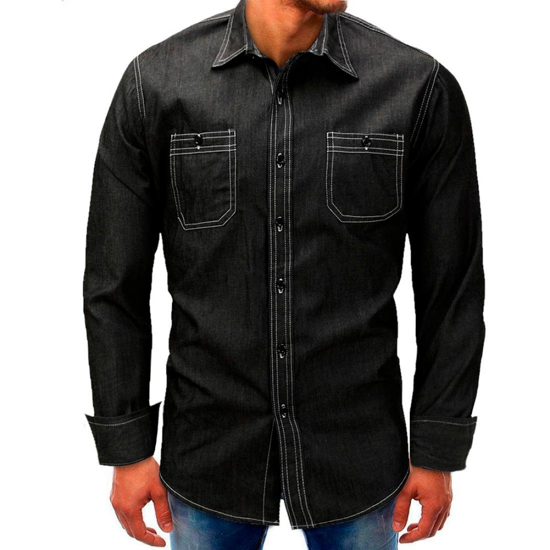 Clearance Sale! Wintialy Men Denim Long-Sleeve Beefy Button Basic Solid Blouse Tee Shirt Top