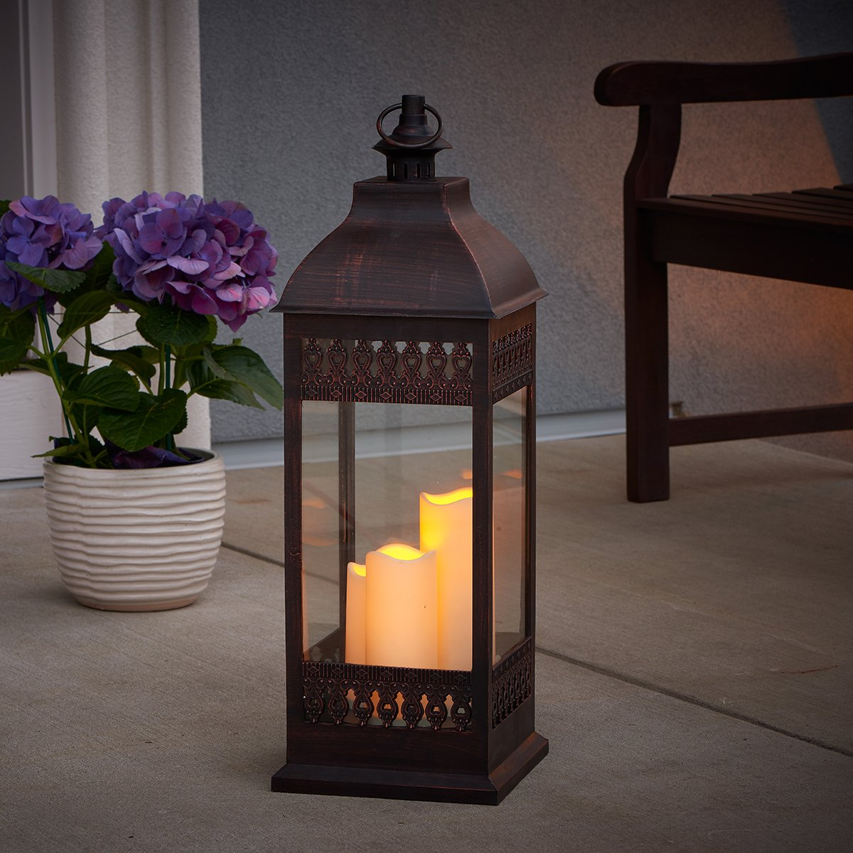 with Durable Poly Construction with Real Glass and Metal Hanging Loop Powered by Three Integrated LEDs Antique Bronze 80071 28-Inch Tall Smart Living San Nicola Triple LED Candle