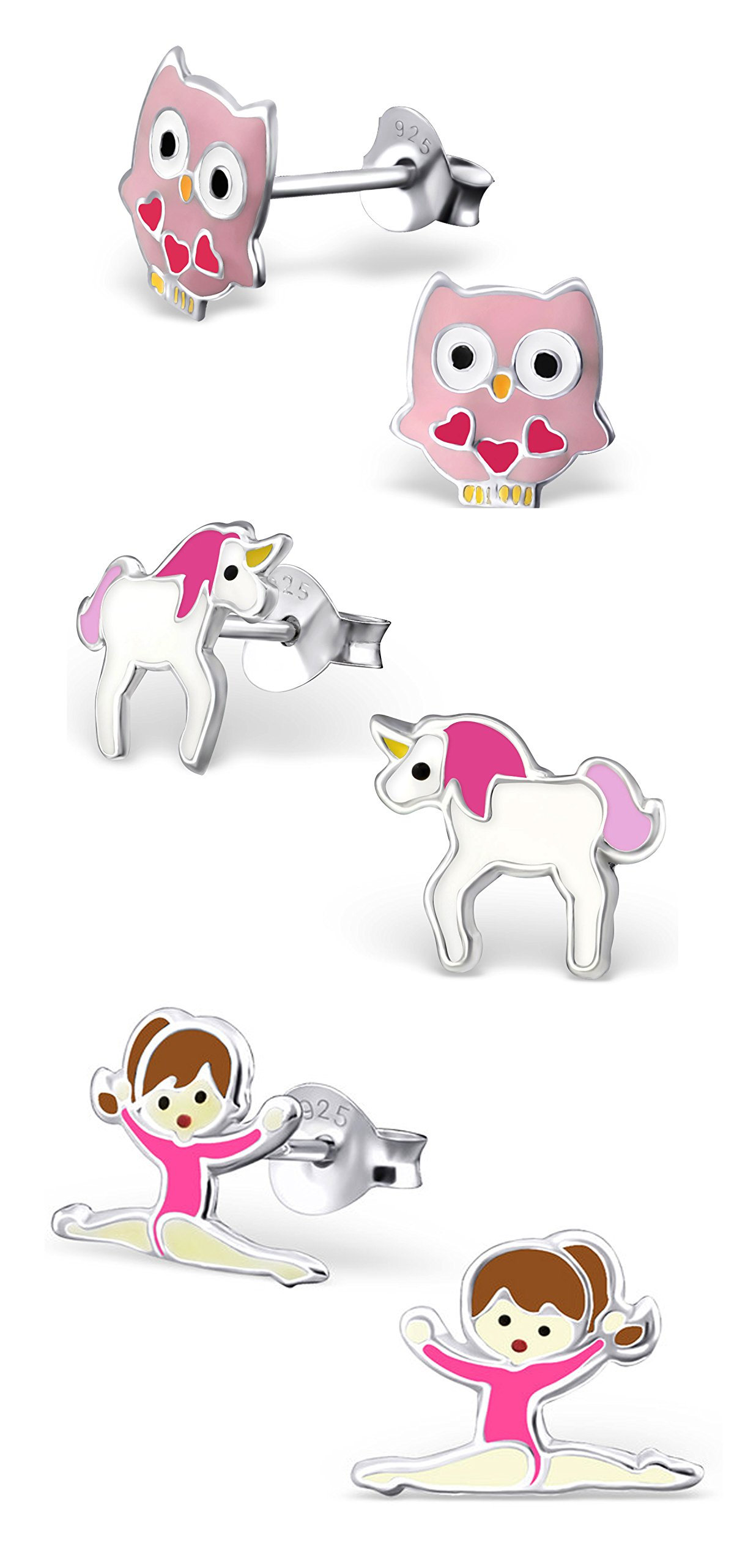 Best Wing Jewelry .925 Sterling Silver ''Pink Owl, Unicorn and Ballerina/Gymnastic Girl'' Set Children's Stud Earrings (3 Pairs) by Best Wing Children's Earrings (Image #1)