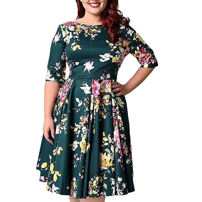Vestido,Sannysis Mujer Verano Floral Impreso Vestir Vestido Sin Mangas de Manga Corta Vestido de