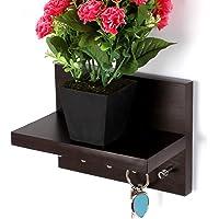 Bluewud Key Hold - Wall Mounted Key Holder/Key Rack Hooks with Decor Shelf - Skywood Wenge