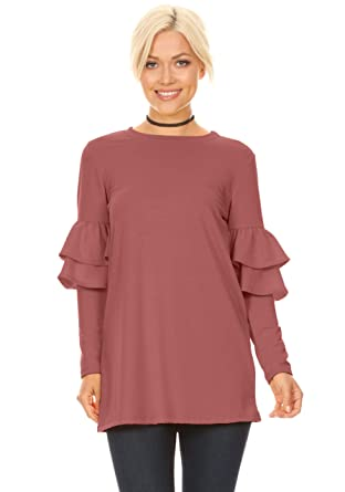 aafb3828f67fb4 Long Sleeve Tunic Tops for Women Regular and Plus Size with Ruffle Sleeve -  Made in