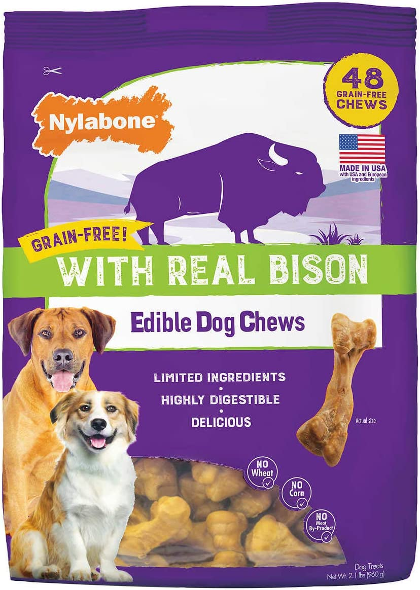 Nylabon Grain-Free with Real Bison Edible Dog Chews 48-Count
