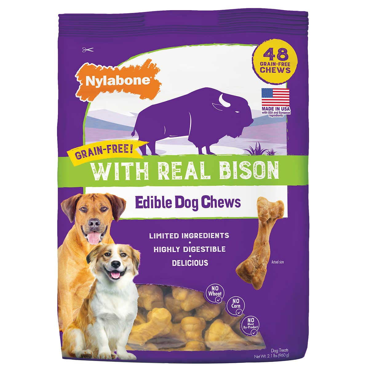 Nylabon Grain-Free with Real Bison Edible Dog Chews 48-Count