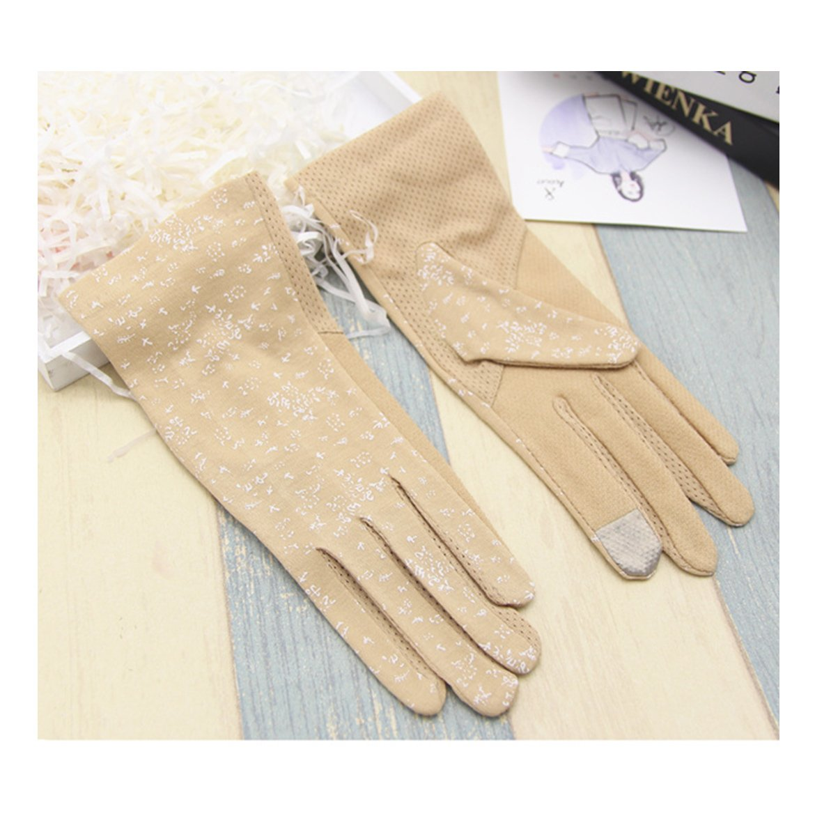 Ladies Summer Wrist Full Fingers Sun Protection Outdoor Driving Touchscreen Gloves (Khaki, One size)