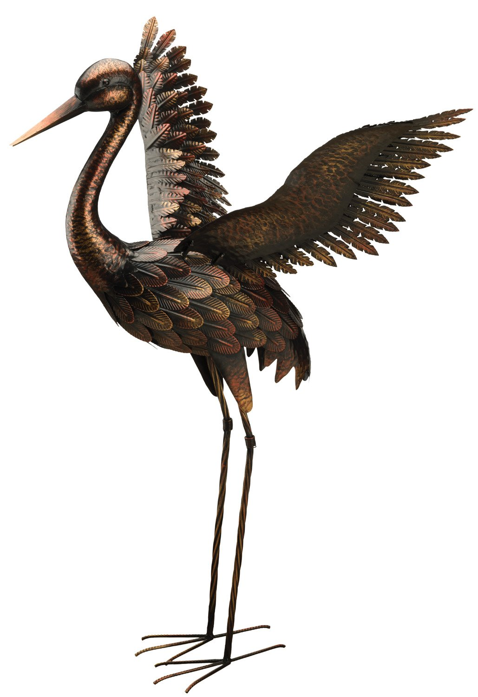 Creekwood 48063Grande Grue Oiseau Statue Ornement 103cm Height-Wings Up, Bronze, 57x 99x 103cm