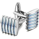 Peluche Blue Enamel Brass Stripe Cufflinks for Men