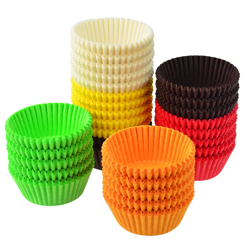 Yookat 600pcs Rainbow Paper Baking Cups Muffin Cups Grease proof Cupcake Liners Baking Paper for Cakes Cookies Cupcakes Candies Muffins DIY Decoration Safe and Colorful