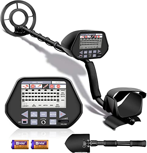 Aneken Metal Detector, 3 Modes High Accuracy Metal Detectors with10inch Waterproof Coil, Larger LCD Display, 3 Audio Tone, Adjustable Size 53.1 max Metal Finder for Adults and Kids with Shovel