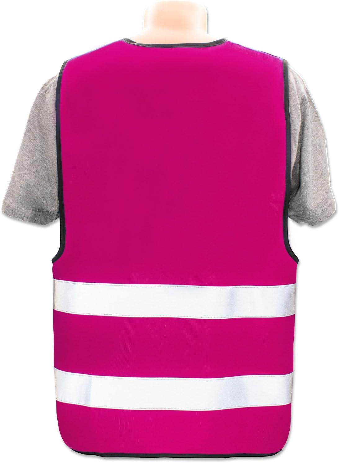 Farbe//Position:Pink//R/ücken 29 x 21 cm Menge:20 Warnwesten Pers/önliche Warnweste selbst gestalten mit eigenem Aufdruck * Bedruckt mit Name Text Bild Logo Firma