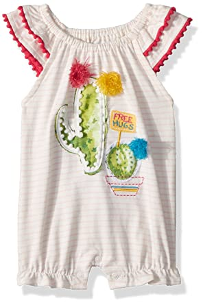 e4ce1248a Mud Pie Baby Girls Cactus Stripe Flutter Sleeve Bubble Romper Playwear,  Pink, 0-