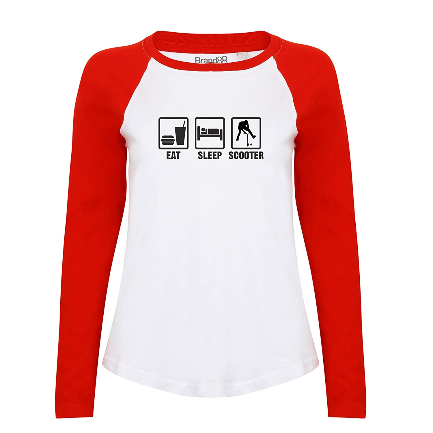 Brand88 Eat Sleep Scooter, Damen Langarm Baseball T-Shirt: Amazon.de:  Bekleidung