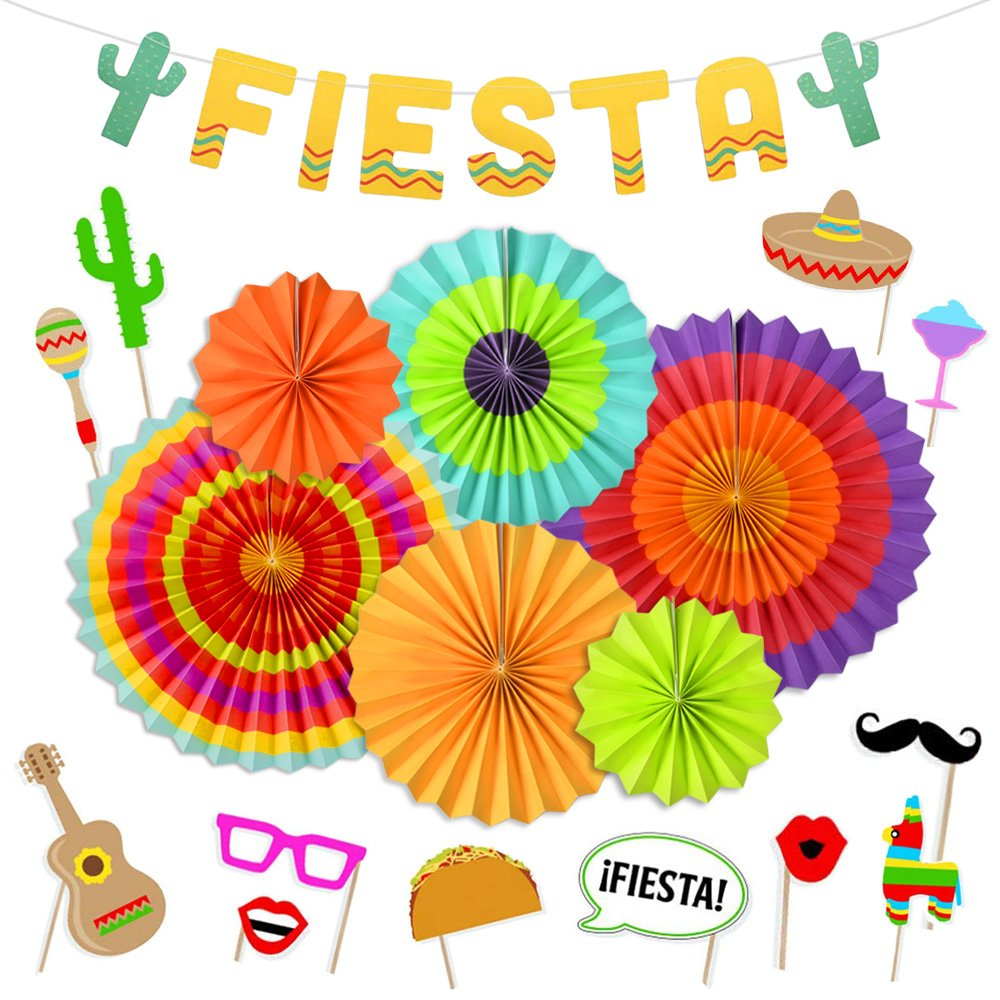 Fiesta Party Supplies Fiesta Photo Booth Props Hanging Paper Fans Cactus Banner for Cinco De Mayo Mexican Luau Party Decorations by LUCK COLLECTION