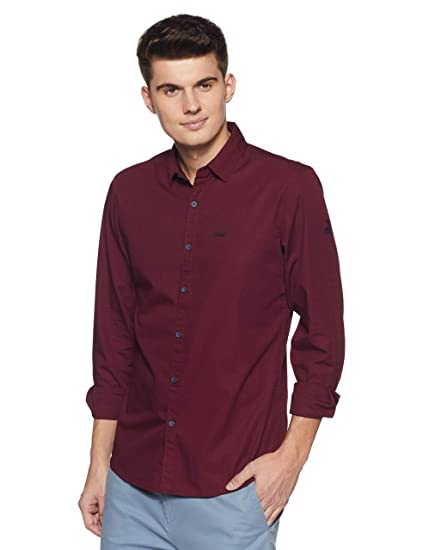 Wrangler Men's Solid Regular Fit Casual Shirt Men's Casual Shirts at amazon