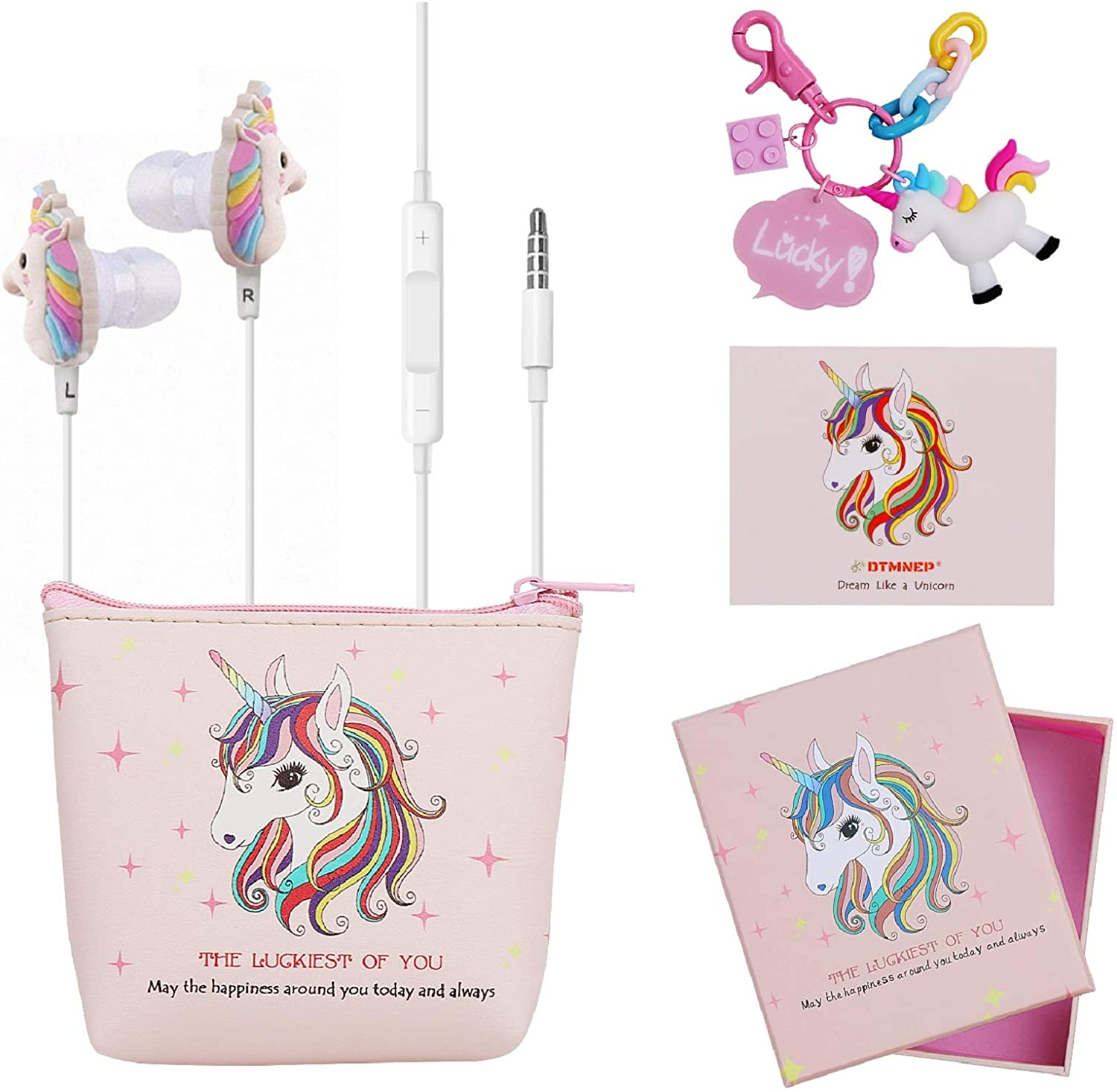 DTMNEP Unicorn Gifts Earbuds Earphones for Girls Kids Compatible with Apple Android with Unicorn Key Chain, Headphone Bag, Gift Card, Gift Box, and Back to School Supply for Kids