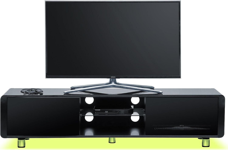 "Centurion Supports CAPRI Gloss Black with Black Sides Beam-Thru Remote Friendly 32""-65"" Flat Screen TV Cabinet with LED Lights (Blackcurrent LED Lights) Lemon LED"