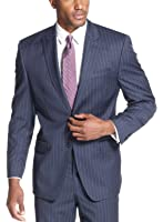 Sean John Navy Wide Stripe 2-Button Peak Lapel New Men's Sport Coat