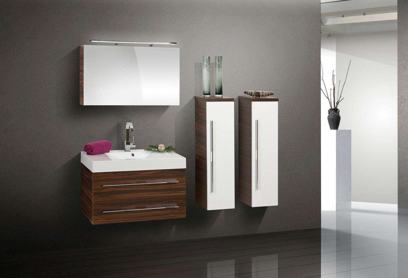 Design Badmöbel Set mit 90 cm Spiegelschrank
