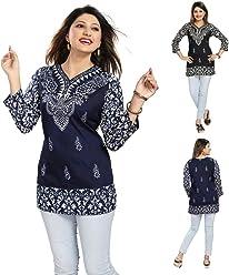 Unifiedclothes UK Stock - Women Fashion Party Indian Kurti Tunic Kurta Top Shirt Dress MI518 Black