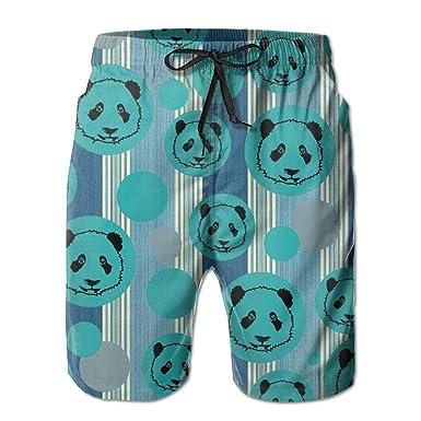 8375f580eb Youth Swim Trunks Panda Stripe Blue Quick Dry Beach Board Shorts ...