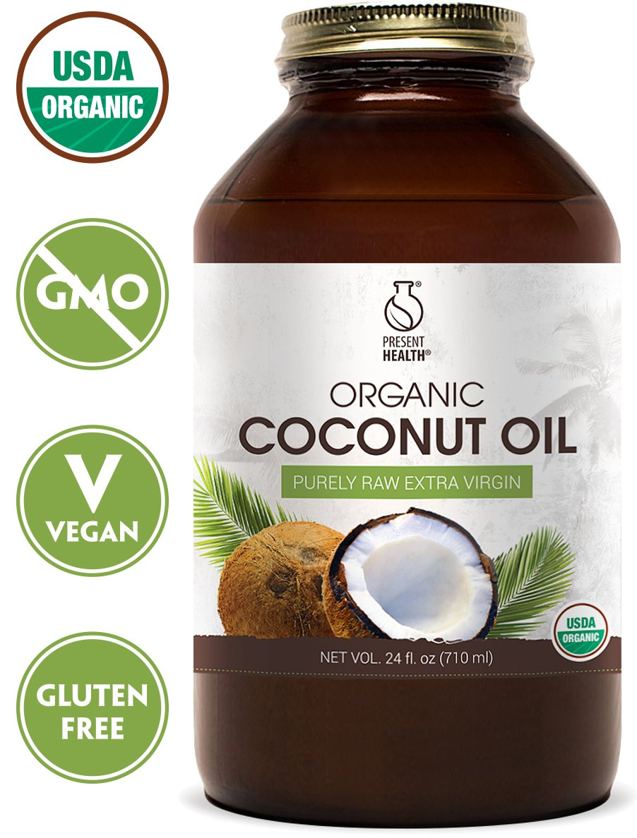 Coconut Oil Organic Raw Extra Virgin 24oz, by Present Health – Bottled From Fresh Coconuts And Free Of Toxic Chemicals – Makes Cooking Healthy Simple And Delicious – Great For Skin And Hair!