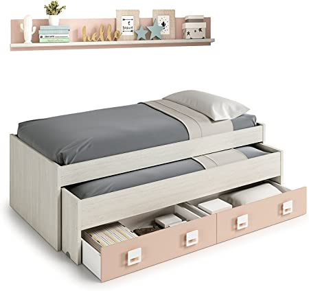 Mobelcenter - Cama Nido con cajones y estantería Nube - Color Blanco y Rosa Pastel - Conjunto Dormitorio Infantil Juvenil (199cm de Ancho x 69cm de Altura x 96cm de Fondo) - 0983