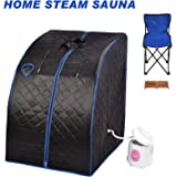 KUPPET Portable Folding Steam Sauna 2L One Person Home Sauna Spa for Full Body Slimming Loss Weight w/Chair, Remote Control, Steam Pot, Foot Rest, Mat(Black)