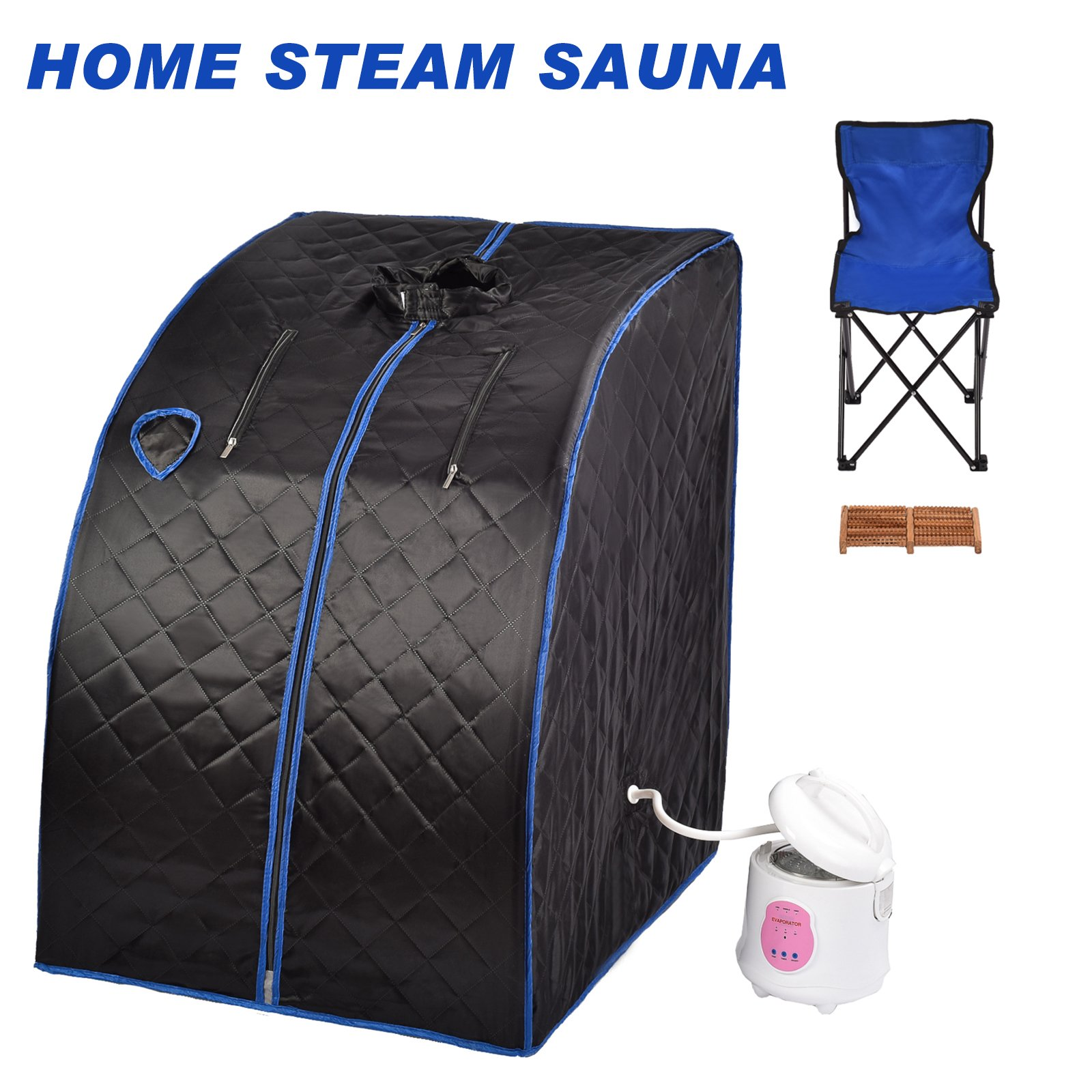 KUPPET Portable Folding Steam Sauna-2L One Person Home Sauna Spa For Full Body Slimming Loss Weight w/Chair, Remote Control, Steam Pot, Foot Rest, Mat(Black)