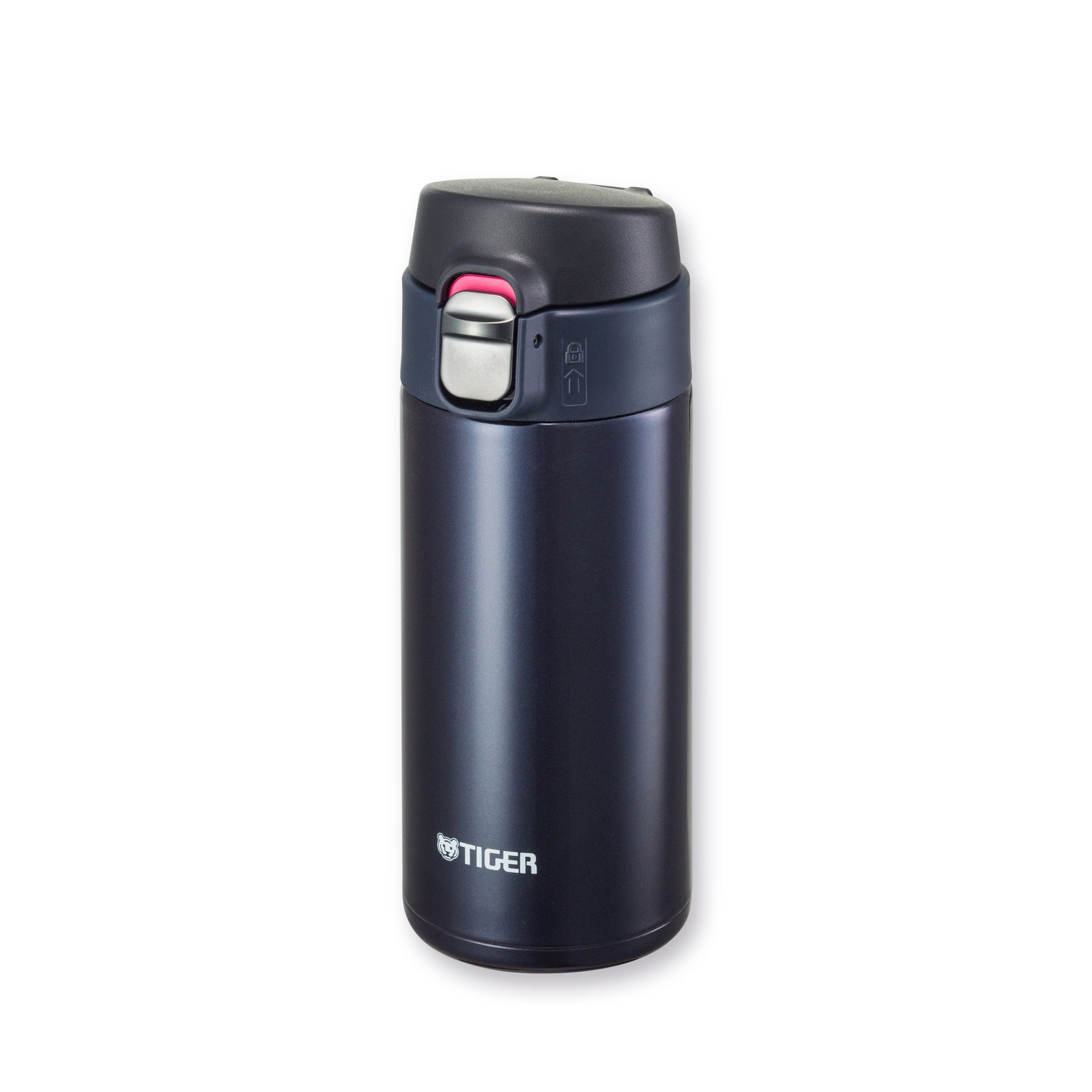 Tiger MMJ-A036 KA Vacuum Insulated Stainless Steel Travel Mug with Flip Open Lid, Double Wall, 12 Oz, Blue Black
